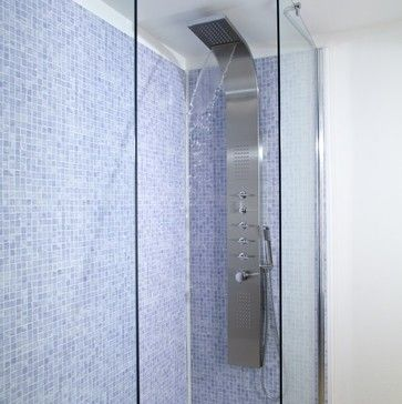 Shower Tower Panel System With Waterfall And Body Jet Sprays   Contemporary    Shower Panels And