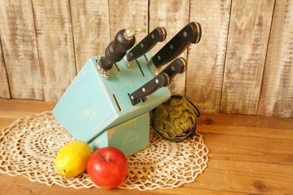 Rustic Knife Block Country Kitchen Decor  by FestiveHomeDesigns