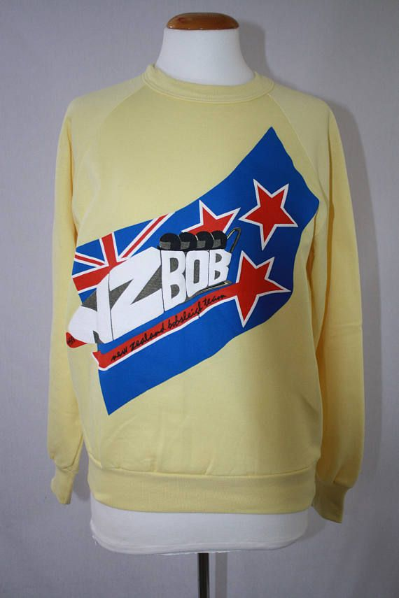 Vintage New Zealand Bob Sled Team Sweatshirt 1988 Olympics.