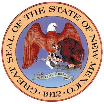 The seal of NM is rich in symbols.The Mexican eagle grasping a snake in its beak and cactus in its talons portrays an ancient Aztec myth,symbolizes that NM treasures its Spanish,Mexican and Native American traditions(NM was settled by Spanish colonists and was later part of Mexico).  The Mexican eagle is shielded by the larger American eagle,wings outstretched,grasping arrows in its talons.