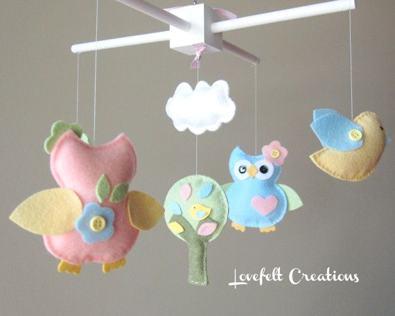 Baby Crib Mobile Owl baby mobile Owl and birds by LoveFeltXoXo