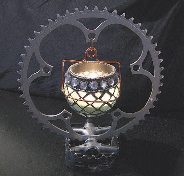 Upcycled Auto Parts, Bike Part Crafts, Upcycled Bike Parts