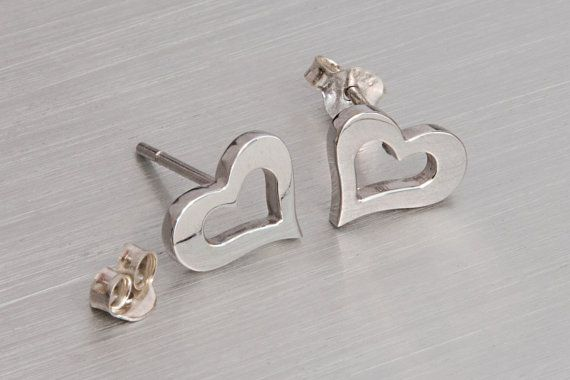 Open heart studs Silver post 925 sterling silver Open heart earrings
