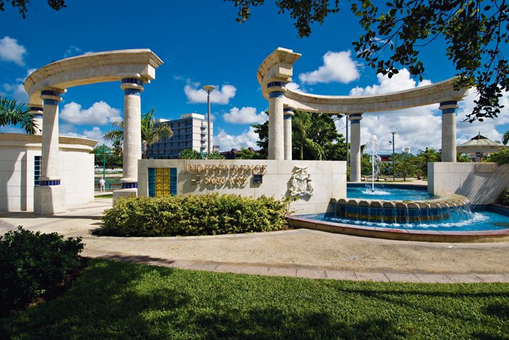 Independence Square, a quiet oasis in the midst of the bustling capital city Bridgetown.