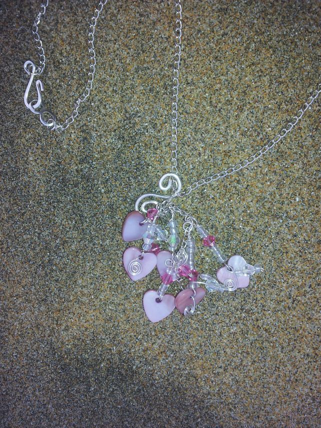 Valentines Pink Shell Heart and Swarovski Crystal Silver Charm Necklace £20.00