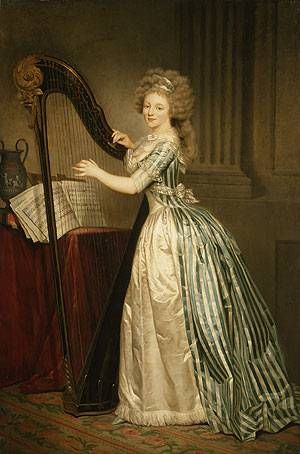 Self portrait with a Harp, Painting by Rose Adelaide Ducreux