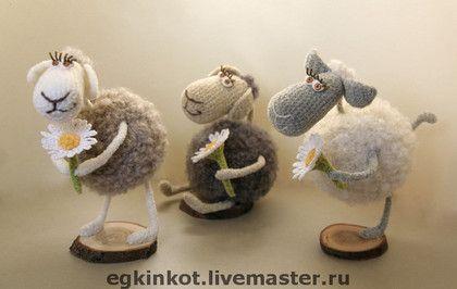 """Вязаные овечки """"До свидания, Лето!"""" - овечка,лето,цветочки,вязаная игрушка"""
