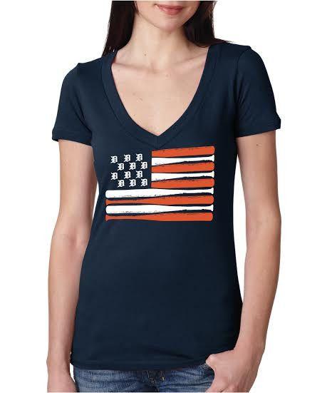 Detroit Baseball Flag - Women's - Navy #detroit #baseball #flag #usa www.inkdetroit.com