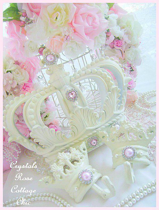 Rhinestone crown wall decor : Shabby chic french ivory bed crown canopy set fleur de lis