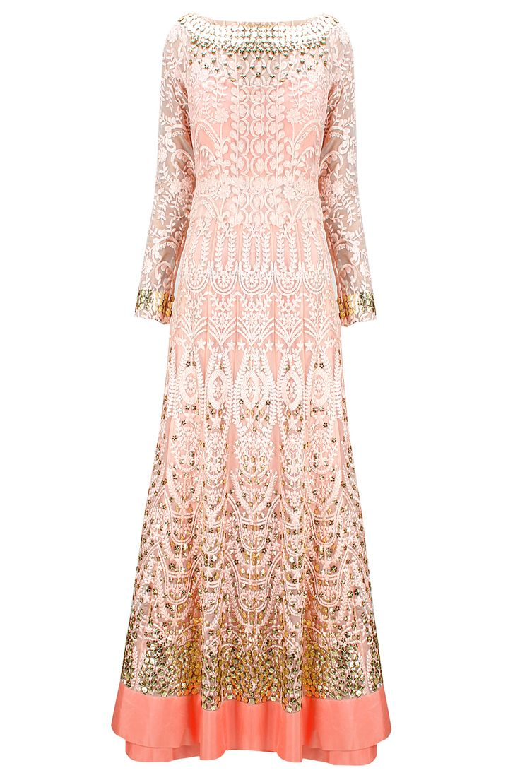 Shell pink tone-on-tone embroidered anarkali with matching dupatta available only at Pernia's Pop-Up Shop.