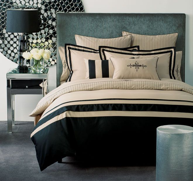 Linen House Boutique Belmont Quilt Cover Set Range Black and Taupe