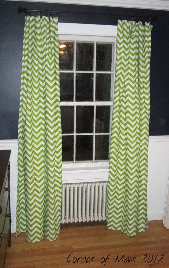 lime green chevron curtains except I want just a valance