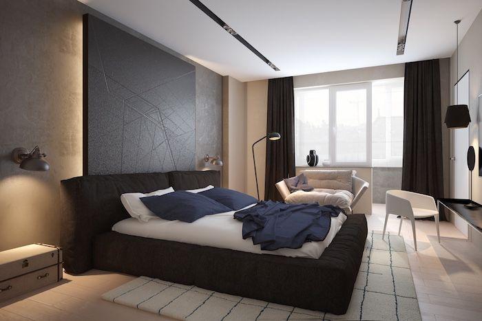 """Стильная спальня. Сочетание белого, черного и цвета """"дерево"""" в интерьере..."""