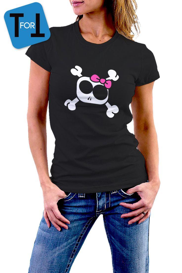 TÊTE De MORT GIRLY avec Nœud Flot • T-shirt Noir pour Femme • fun • Tshirt • funny design • 054 de la boutique teeFORtea sur Etsy