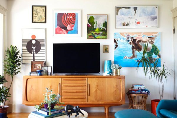 vintage credenza emily henderson makeover living room west elm rug sofa vase art gallery wall bungalow