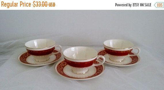 ON SALE Homer Laughlin Craftsman Formal G-58 China Tea Cup and Saucer Set of 3 by pjspasttreasures on Etsy
