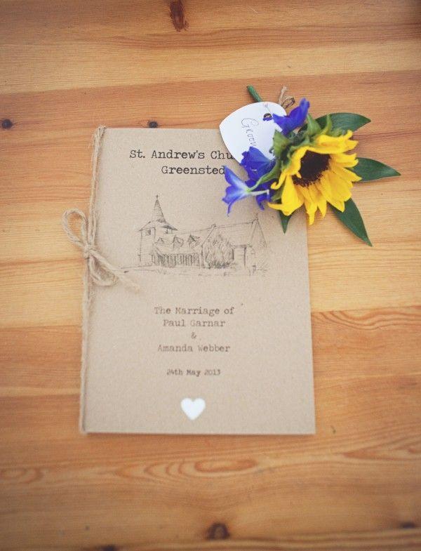 order of service home made pretty wedding http://www.juliaandyou.co.uk/