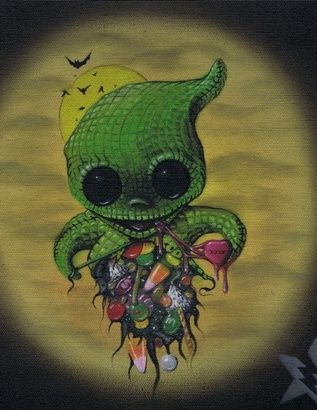 Sugar Fueled Oogie Boogie Disney Nightmare Before Christmas Heart Candy Lowbrow Creepy Cute Big Eye Art Print on the redditgifts Marketplace...