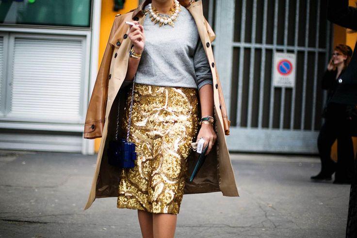 Street style Milan Fashion Week febrero 2014 II: falda de lentejuelas doradas