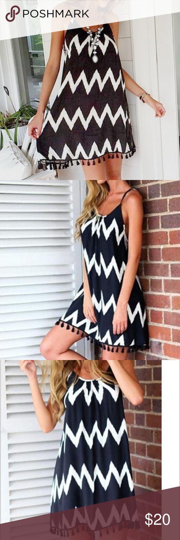 ☀️JUST IN☀️ Beach dress in black and white Tassel edged black and white chevron patterned spaghetti strap chiffon beach dress. Dresses