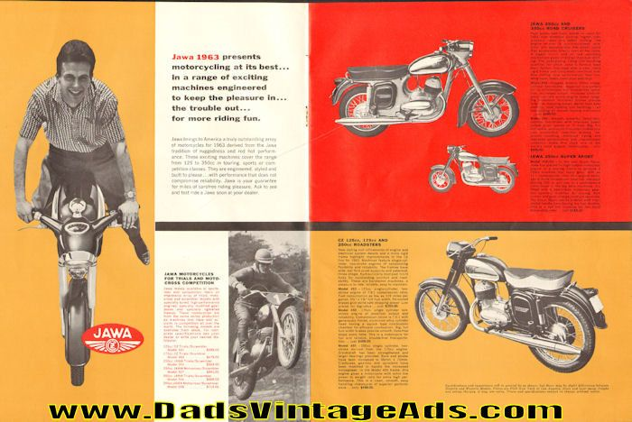 Jawa '63 - universally acclaimed the world's best 2-stroke...for fun or the thrill of victory in competition. Shown in ad: Jawa 250cc and 350cc Road Cruisers; Jawa 250cc Super Sport; CZ 125cc, 175cc and 250cc Roadsters; Also shown: PAL Super Spark Plugs; Favorit Motorcycle Chain; Barum Tire