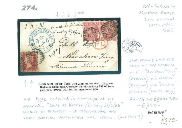 274a 1865 London Twin Numeral Late Fee 1d Paid SG.77 Pair/Kircheim Wurttemberg | eBay
