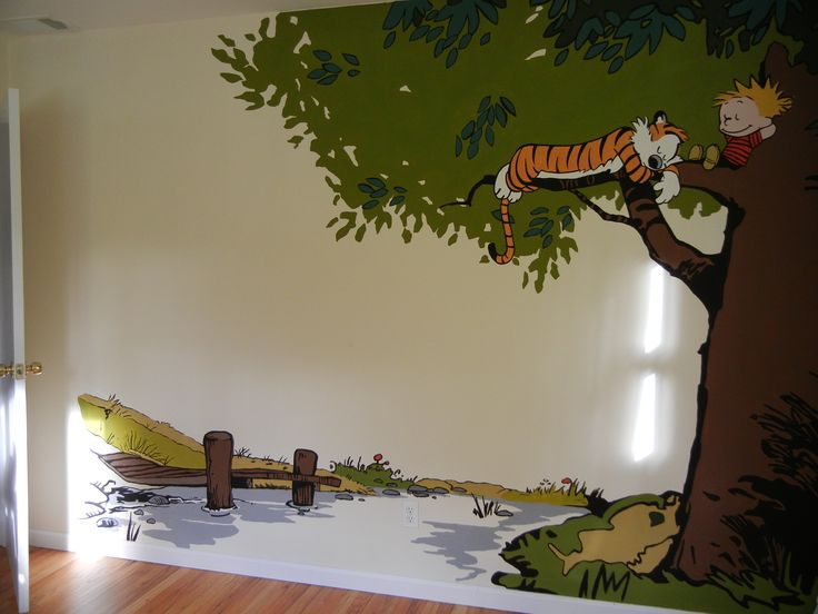 Calvin and hobbes mural in nursery 1 baby boy for Calvin and hobbes nursery mural
