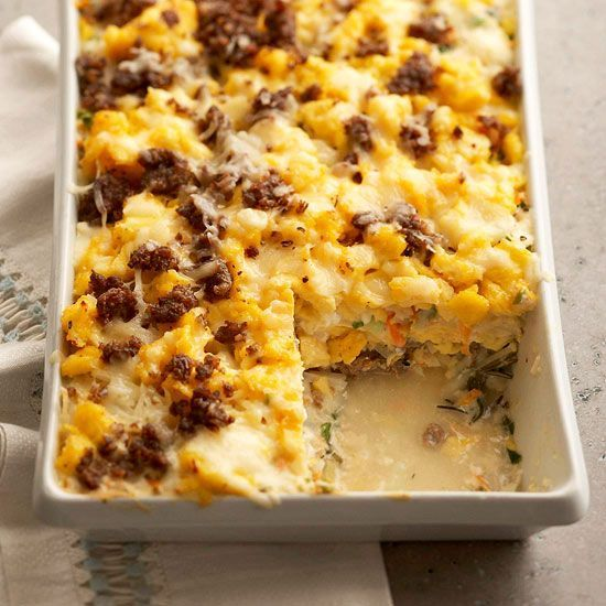 Make the egg casserole ahead of time for a party-pleasing brunch idea! This protein packed breakfast uses lots of eggs  and sausage for a flavorful and easy brunch food idea.