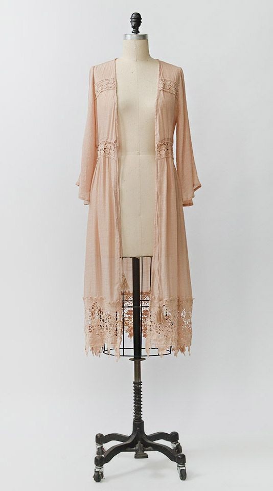 Vintage Inspired Romantic Pale Rose Robe / Adored Vintage