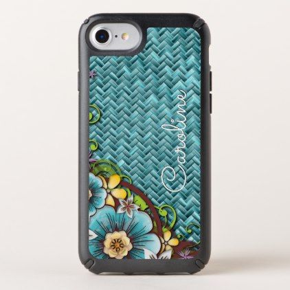 Custom Yellow Turquoise Summer Floral Weave Motif Speck iPhone Case - cool gift idea unique present special diy