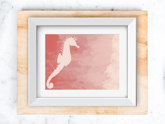 Sea Horse Wall art instant download Pink in 5x7 and 8x10