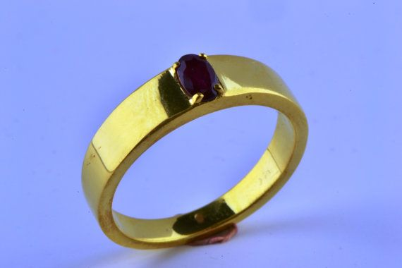 14K Gold Filled Oval Natural Ruby Ring July by LuckyGirlAtelier