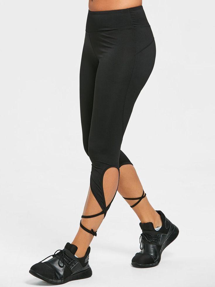 Wrap Around Tie Cropped Leggings - BLACK S
