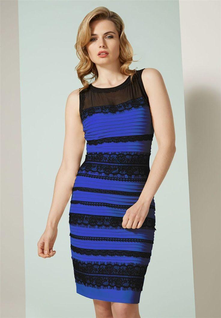 Robe bleu et noir blanche or
