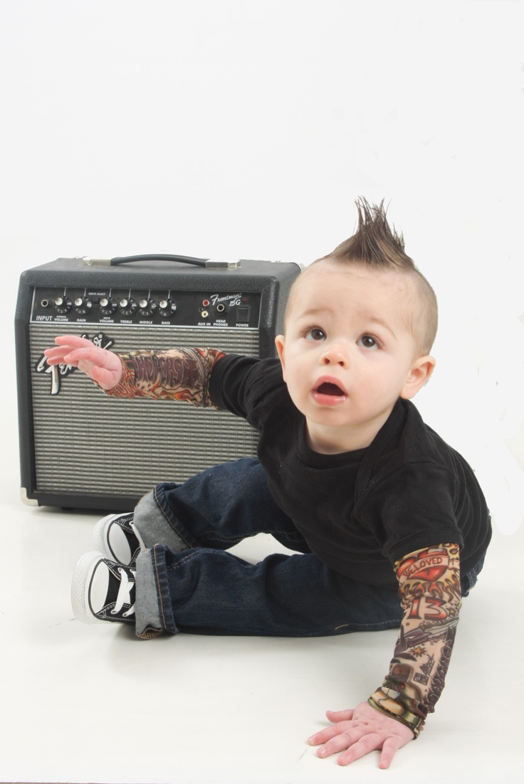 My little M's 1 year photo.  I'm still loving his tattoo sleeves!  My punk rock baby :D