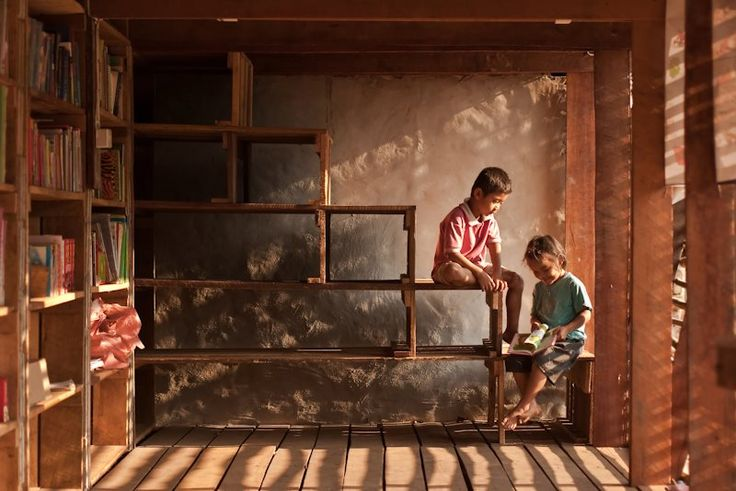 Library for Safe Haven Orphanage by TYIN Tegnestue, Ban Tha Song Yang, Thailand.