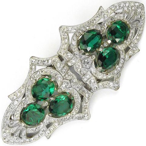 Coro Deco Pave and Triple Emerald Shield Dress Clips Duette