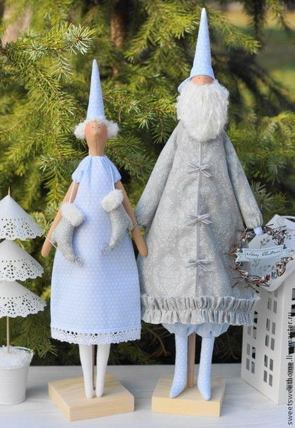 Зимняя сказка - голубой,белый,серый,санта клаус,санта тильда,Дед Мороз и Снегурочка