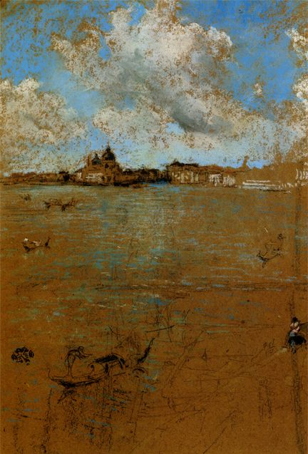 """James McNeil Whistler. """"Venetian Scene."""" (1834-1903) was an American-born, British-based artist. Averse to sentimentality and moral allusion in painting, he was a leading proponent of the credo, """"art for art's sake"""". His most famous painting is, Whistler's Mother (1871), the revered and oft parodied portrait of motherhood."""