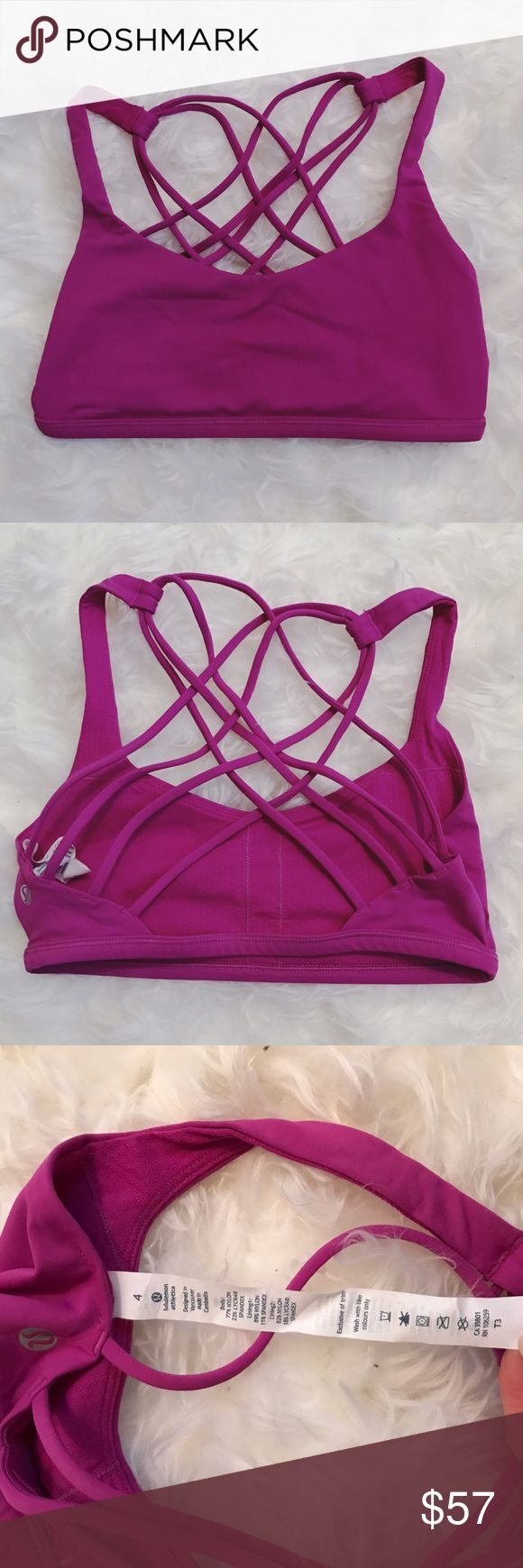 Lululemon Free to be Wild Sports Bra Magenta 4 Won't only once! In excellent condition with no signs of wear. Free to be Wild sports bra by Lululemon in pink/purple magenta color. Size 4. Feel free to make an offer or ask for a custom bundle! lululemon athletica Intimates & Sleepwear Bras
