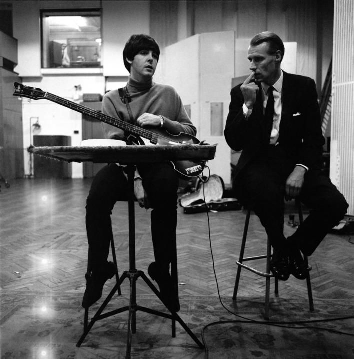 """George Martin & Paul during a recording session for the album """"Beatles For Sale"""" - The Beatles"""