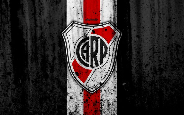 Download wallpapers 4k, FC River Plate, grunge, Superliga, soccer, Argentina, logo, River Plate, football club, stone texture, River Plate FC