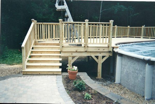 Image Of Awe Inspiring Above Ground Pool Side Deck With Wood Pool Deck Kits Also Free Standing Above Gr Wood Pool Deck Above Ground Pool Decks Wooden Pool Deck