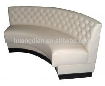 Modern restaurant Button Tufted beige leather curved booth for sale
