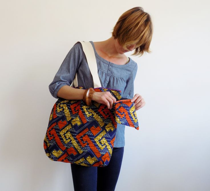 Colorful set with bag and purse, handmade in Italy with real wax cotton fabric