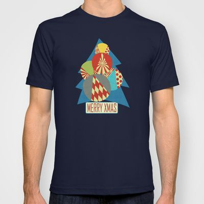 Christmas tree minimalist blue T-shirt by Chicca Besso - $22.00