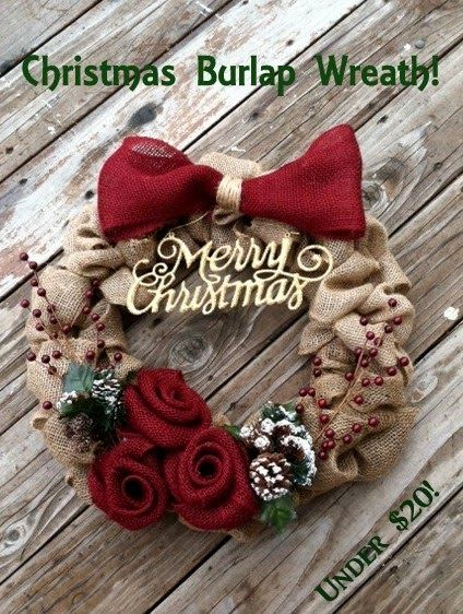 Burlap Christmas Wreath! Easy and under $20 to make!