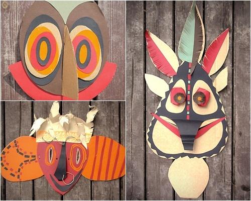 Máscaras tribales hechas para reciclar papel