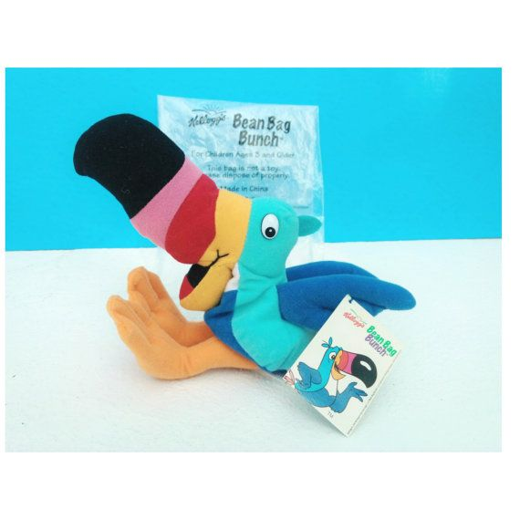 Kelloggs TOUCAN SAM Breakfast Bunch Cereal Collectible Plush Beanbag Bird Doll ~ Bag & Swing Tags ~ TV Memorabilia Froot Loops Ad Icon 1990s