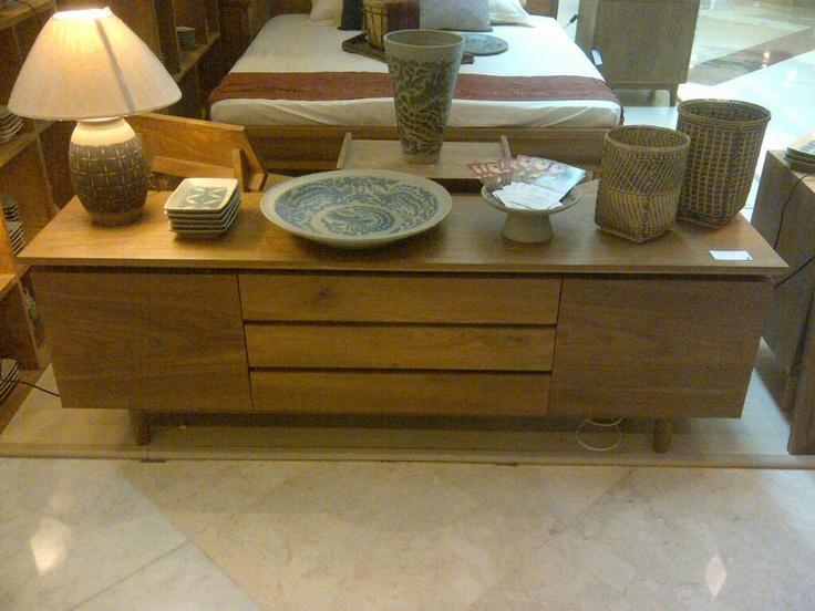 Scandinavian Mod inspired TV sideboard, solid teak wood, 180 x 45 x 50 + an array of Batik motive Ceramics